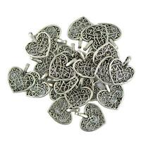 50pcs Wholesale Heart Filigree Hollow Cut Pendant DIY Jewelry Tibetan Silver