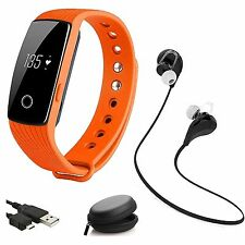 Heart Rate Monitor Wristband Smart Watch Fitness Track Wireless Earphones