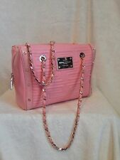 """VERSACE COUTURE Pink Leather Handbag, Dual Gold Chain, """"Key"""" Pattern, EXCELLENT!"""