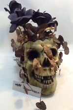 RARE HALLOWEEN Gemmy Animated Musical Skull w/ Dancing BLACK ROSES Red Glow Eyes