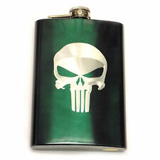 Punisher Skull Green Symbol Logo Engraved 8oz Stainless Flask Liquor FEN-0037