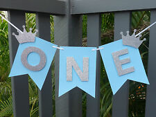 ONE Banner Bunting Garland - 1st birthday high chair banner decor, photo prop