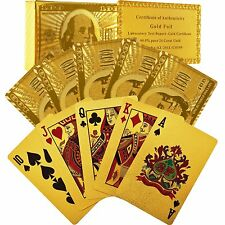 24k Gold Foil Plated Poker Playing Cards Waterproof - US Seller Fast Ship!