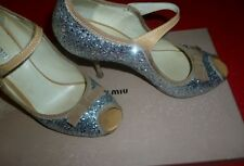 Miu Miu Prada Glitter Mary Jane prom Pumps Shoes Size 6.5 36.5 Argento Style