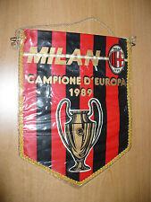 CALCIO GAGLIARDETTO VINTAGE MILAN CAMPIONE D'EUROPA 1989 OTTIMO