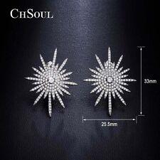 Fashion Women Elegant 925 Sterling Silver Crystal Ear Studs Earrings Jewelry