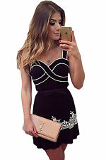 Abito Top Gonna ricamato Scollo Balza Cerimonia Party Mini Lace Mermaid Dress M