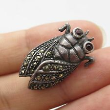 Vintage Sterling Silver Red Garnet & Marcasite Gem Fly Insect Shiny Pin Brooch