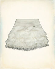 NWT Genuine Hollister By Abercrombie IVORY LAYERED CHIFFON RARA SKIRT SZ S £50
