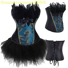 SEXY Peacock Feather Lingere Lace up Boned Corset top Bustier Shaper Costume M