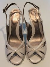 Open Toe Bone Color Sandals Size 38 Or 7 1/2 Sling Back Strap-worn Once.