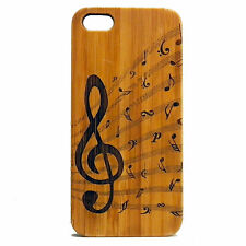 Treble Clef Case for iPhone SE 5 5S Bamboo Wood Cover Music Note Musician Band