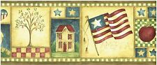 SHEEP HOUSES AMERICAN FLAGS PEAR TREES IN FRAMES MURICA'! Wallpaper bordeR Wall