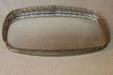 """Antique Filigree Ormulu Gold Tone Footed Brass Mirror Vanity Tray  14"""" x 8"""""""