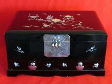VTG ASIAN BLACK LACQUER & MOTHER OF PEARL INLAY 2 DRAWER JEWELRY MUSIC BOX