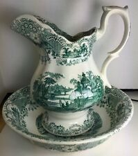 Vintage Water Pitcher & Basin Pickman La Cartuja De Sevilla Green & White Spain