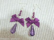 PURPLE BOW LONG TEARDROP GEM BEADED SP Drop Earrings Ribbon