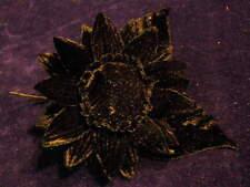 """Millinery Flower 3 3/4"""" All Black Velvet for Hat Wedding or Hair Y240"""