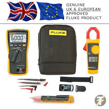 Fluke 113 True RMS Multimeter + 323 Clamp Meter + TPAK3 + 1AC + C115 Case