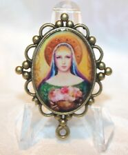 Custom Bronze Rosary Center Part/Color/Rosary Making/Blessed Virgin w/ Flowers