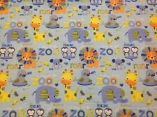 ~FLANNEL~ Zoo ~ Animals ~ Quilting ~ Fabric ~ Flannelette~ Blue~ Boys ~ Baby~ FQ