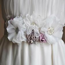 Bridal Wedding Dress Diamante Rhinestone Pearl Flower Sash Belt Accessories
