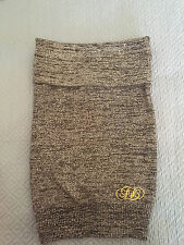Fabulosity Women's or Junior's Black/Gold Metallic Strapless Top, Size Small