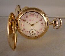 107 YEARS OLD HAMPDEN 14k GOLD FILLED HUNTER CASE FANCY DIAL SIZE 0 POCKET WATCH