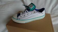 NEW in box Converse CT Double Tongue OX Pumps Size 2/34 White with blue lining