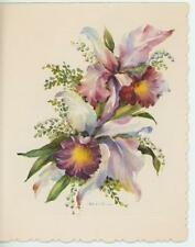 VINTAGE PURPLE PINK WHITE BLUE ORCHID LILY OF THE VALLEY PRINT 1 GARDEN CARD