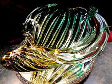 RARE HEAVY Deep HUGE Art Glass Conch Shell TWISTED Bowl Murano ITALY GORGEOUS!