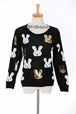 TH-15 Gr. XS-S Pullover schwarz black Hase Rabbit Paillette Japan Trend Fashion