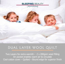 Sleeping Beauty Double Bed Dual Layer Wool Quilt 400gsm - Cool Cotton Cover