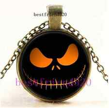 Vintage Nightmare Before Christmas Jack Smile Cabochon Glass Bronze Necklace