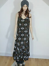 SALE  Hebbeding lagenlook brown/ grey/ black sleeveless silk dress 1L  £179.00
