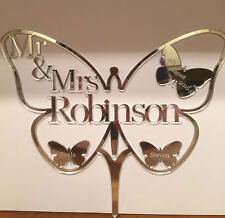 Wedding cake topper mr & mrs papillon personnalisé en acrylique finition miroir
