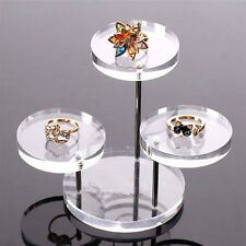 Acrylic Jewelry Necklace Bracelet Display Round Table Holder Stand Rack Case New