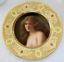 19th Century Royal Vienna Hand Painted Porcelain Jeweled & Enamel Plate