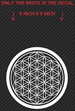 2 White 'Flower of Life' Vinyl Decals, Sacred Geometry (6 inch X 6 inch)