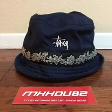 New Stussy Floral Flower Bucket Hat Crusher Navy cap SS World Tour Size L / XL