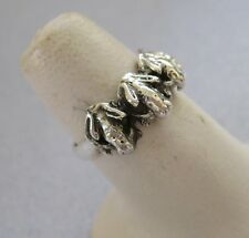 Mexican 925 Silver Taxco Oxidized Four Good Luck Detailed FROG Toad Ring Size 9