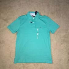TOMMY HILFIGER Mens Custom Fit Aquamarine Polo Shirt 7895227 (Large) NWT $49.50