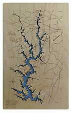 Wooden 2D Cut Engraved LAKE WYLIE, NC Map Standout WALL ART