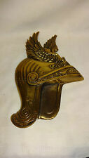 Vintage Heavy Cast Brass Winged Helmet Wall Plaque
