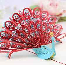 3D Pop Up Greeting Card Peacock Birthday Easter Anniversary Mother Day Thanks