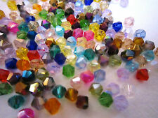 100 Austrian Crystal Glass Bicone Beads -Mixed Colour - 4mm