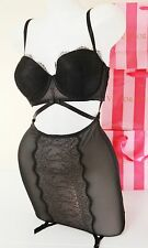 NWT Victoria's Secret Lingerie Merry Widow Garter Lace Bustier Push-up 34C Black