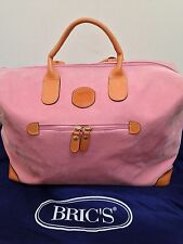 £279 BRIC'S BRICS SMALL PINK LEATHER TRIM CABIN HOLDALL LUGGAGE WEEKENDER BAG