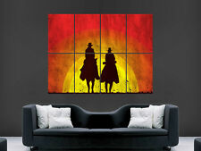 COWBOYS SUNSET WESTERN POSTER HORSES RIDING WALL ART PRINT PICTURE GIANT IMAGE
