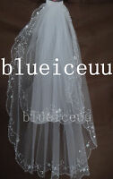2T handmade Sequins beads white&ivory Bridal veil WEDDING Veil with comb